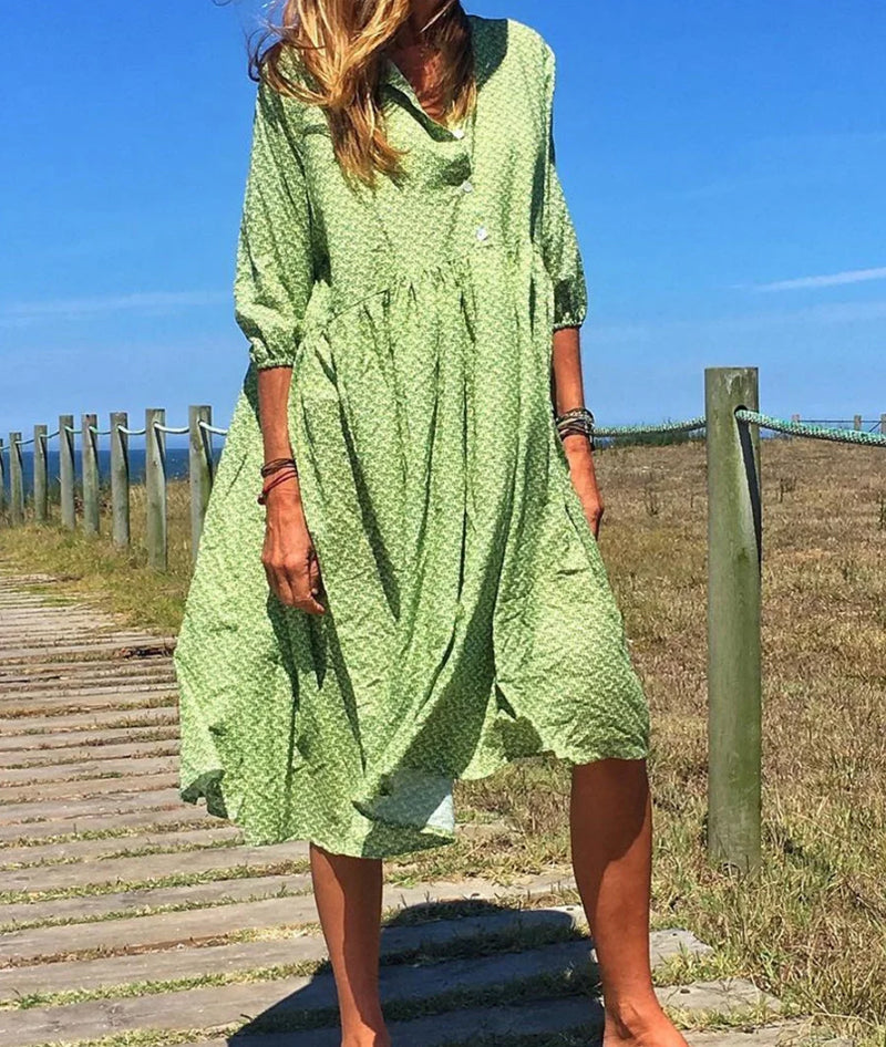 Summer Long Dress Print Causal Boho Dress Lady Plus Size Dresses