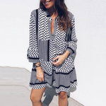 Knee Length Nine Points Sleeve Print High Waist Pullover Dress