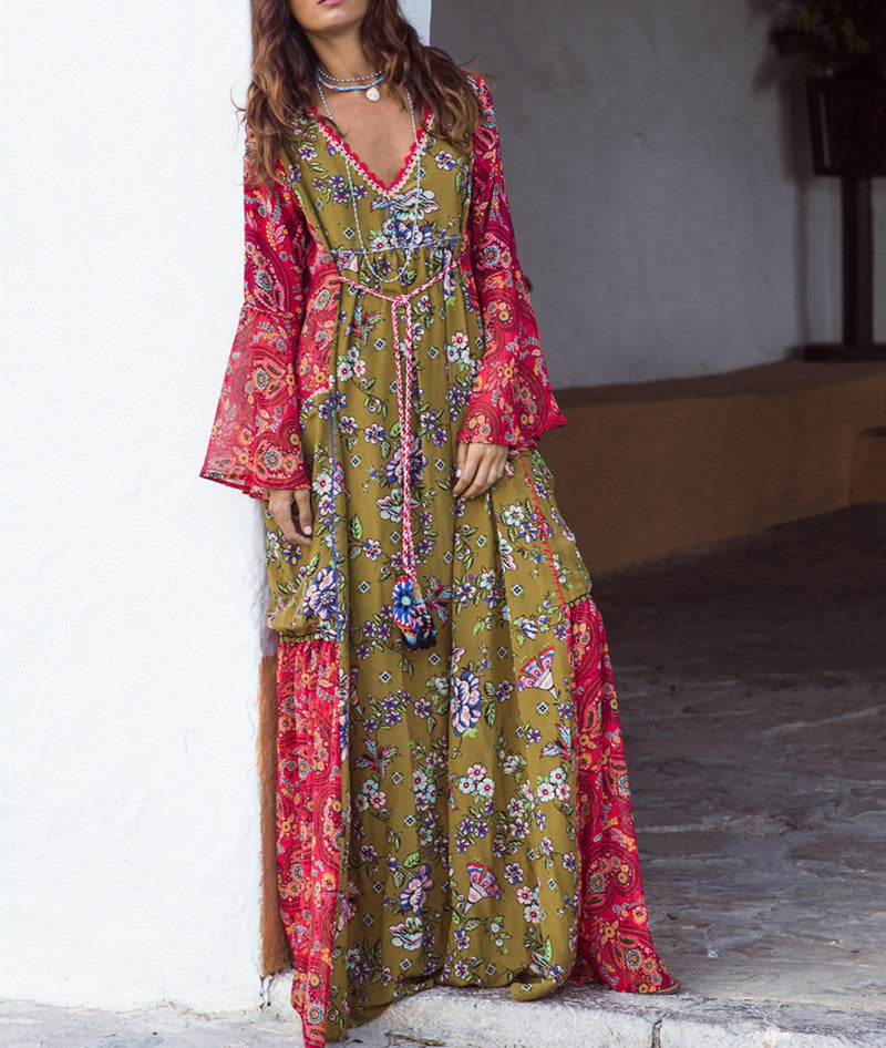 Long Gown Floral Print Maxi Bohemian Dress V Neck Long Sleeve Boho Dresses