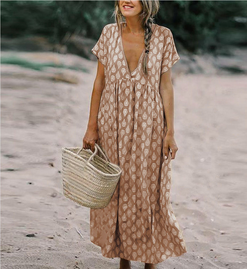 Summer V Neck Vintage Boho Long Maxi Dress