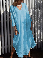 Casual V-Neck 3/4-Length Sleeve Line Dress