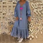Women Long Sleeve Round Neck Lace Loose Dress New Style Dress Cotton Long Dress