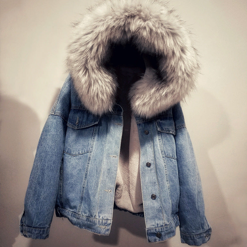Thickening Lambs Denim Coat Autumn Winter Hooded Fur Collar Short Jacket Casual Plush Loose Outerwear