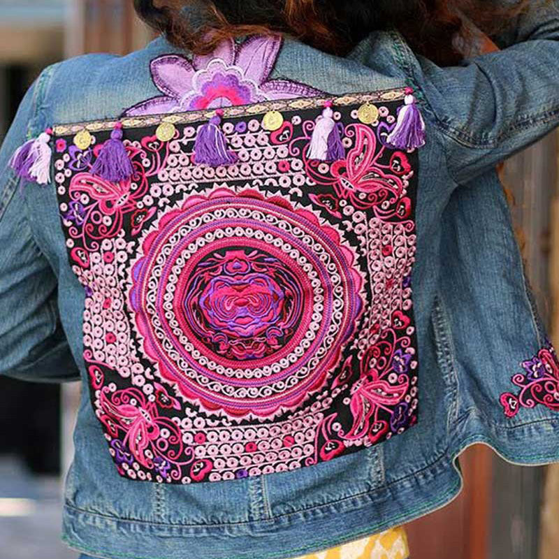 Spring Fall Women Ethnic Embroidery Denim Jackets Back Tassel Denim Coat Casual Short Slim Jeans Jackets