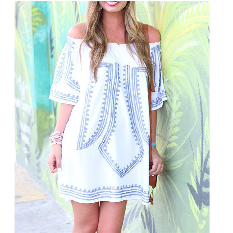 2019 Women Summer Dress Print Dress Short Sexy Off Shoulder Party Dress Beach Dresses Vestidos
