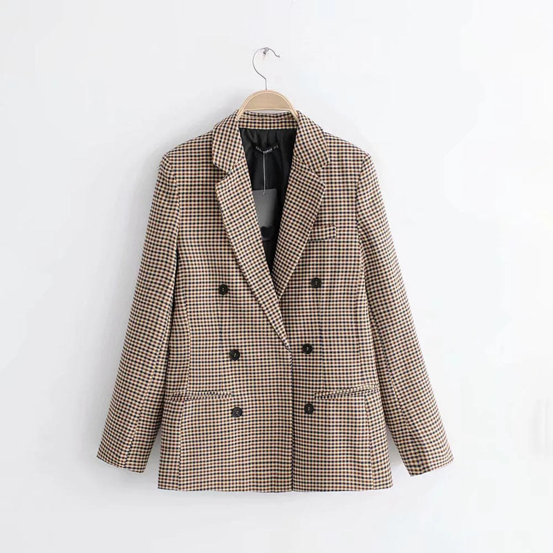 Fall Elegant Loose Lattice Suit Jacket Long Sleeve Single-Breasted Blazers Female Notched Casual Blazers Outerwear