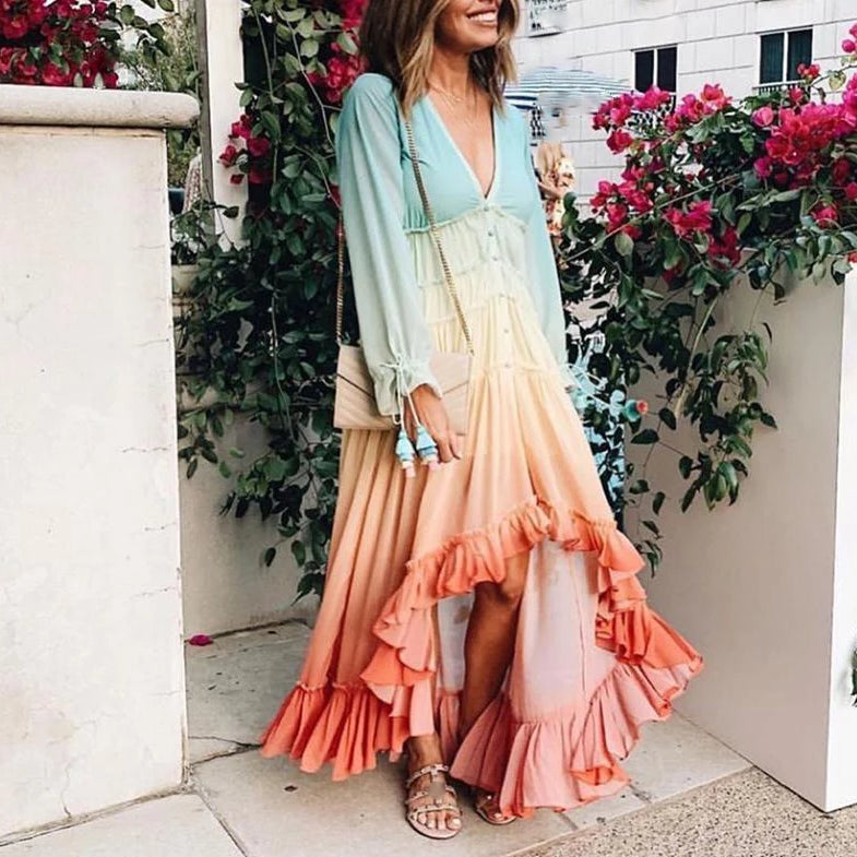 Autumn Long Sleeve Boho Dress Loose Ruffle Dress