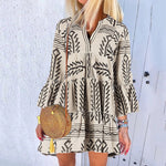 V-Neck Print Aline Mini Dress
