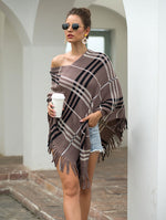 Autumn Winter Capes Pullovers Diagonal Striped Sweater V-neck Cape