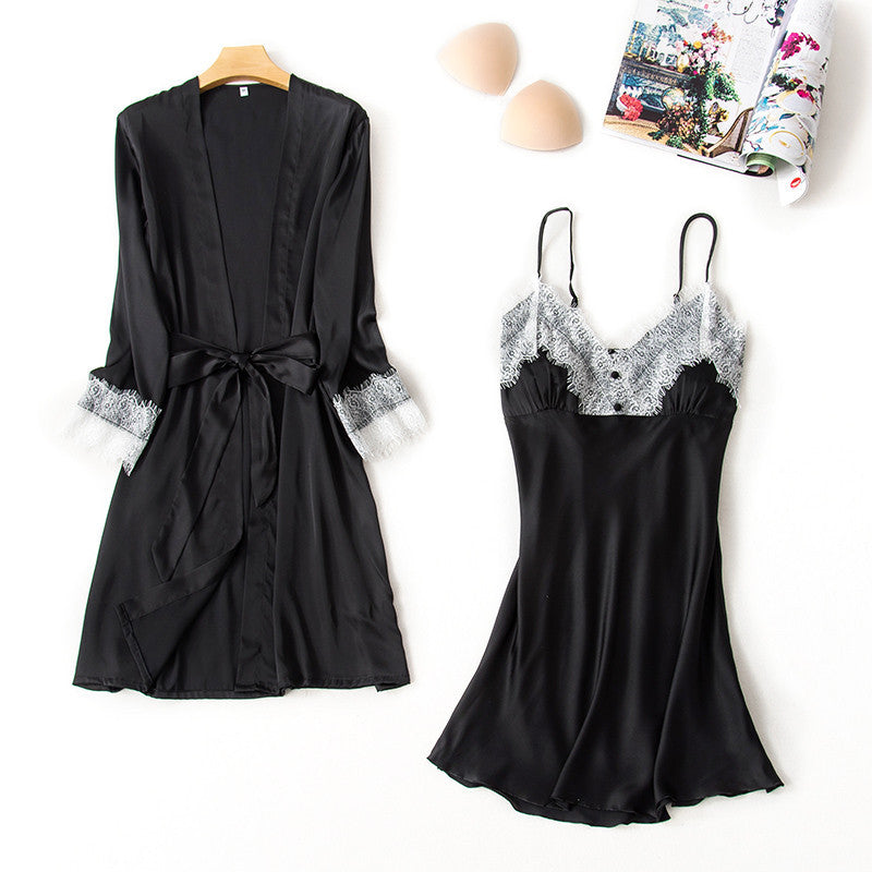 Silk Sexy Robe & Gown Sets Female Satin Lace V-neck Dressing Gowns Nightdress 2 Pieces Sleepwear