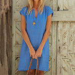 Solid Casual Short Sleeve V-Neck Line Dress