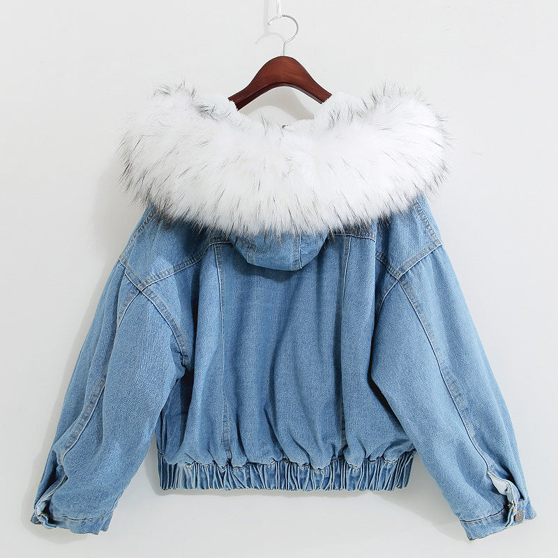 Winter Women Big Fur Collar Korean Coat Female Denim Coat Basic Jeans Jacket Thick Denim Jacket