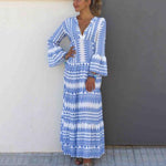 Print V-Neck Flare Sleeve Maxi Dress