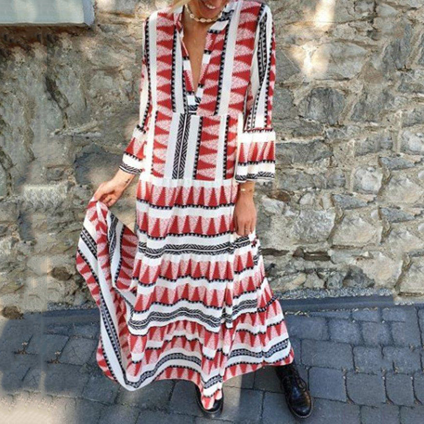 2019 Stripe Print Long Sleeve Maxi Dress