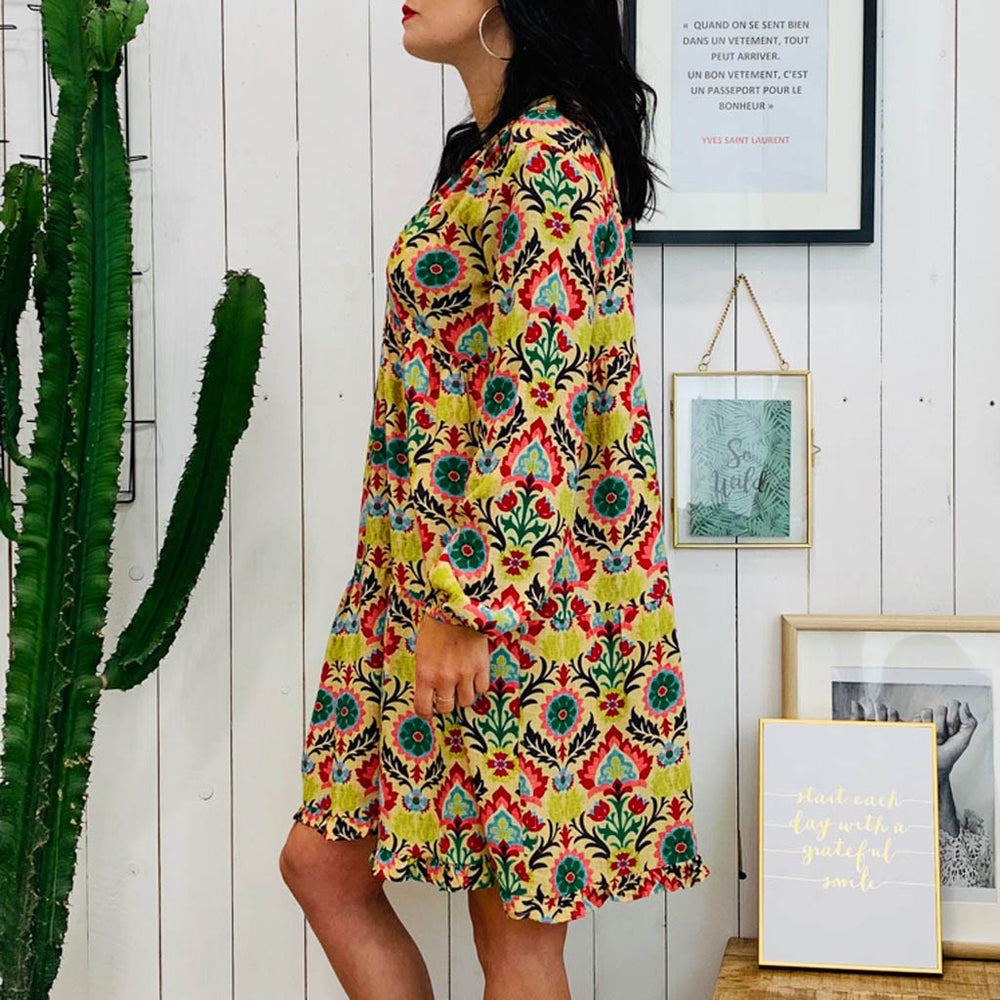 New In V-Neck Bohemian Floral Print Plus Size Dress