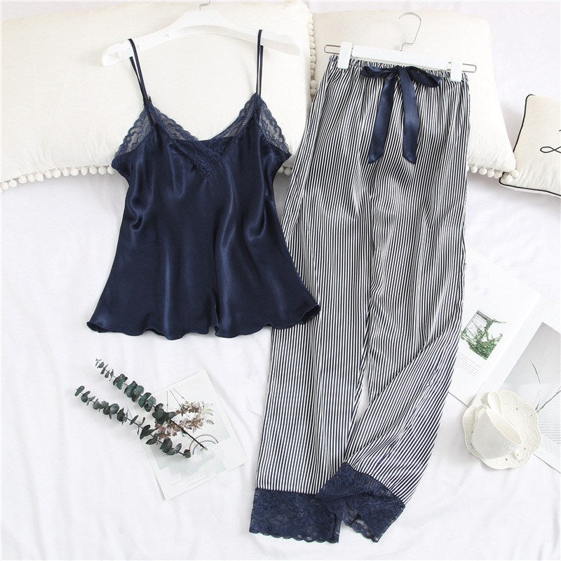 New Arrival Women Spaghetti Strap Slim Pajama Sets Summer Sleeveless Tops And Striped Pants Two Piece Sleepwear