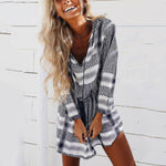 Bohemian Long Sleeve V-Neck Print Mini Dress