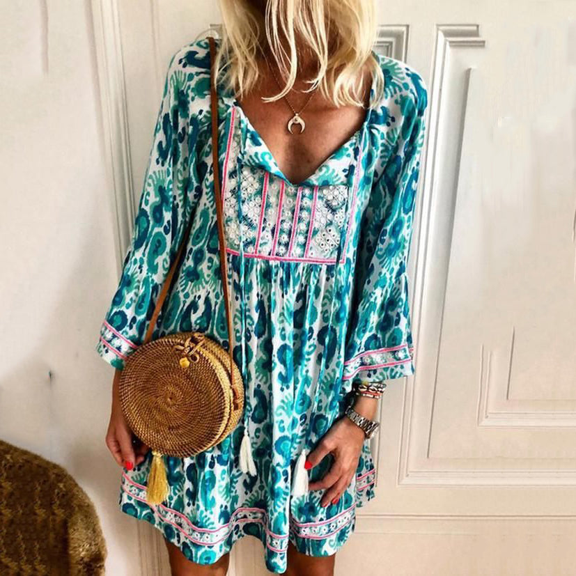 Casual Print Long Sleeve Boho Dresses