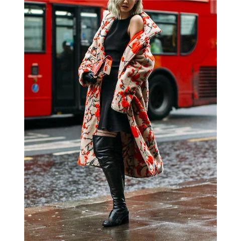 2019 fall Plus Size floral Print Long Trench Coat For Women Casual Trench Full Sleeve British Style Autumn Overcoat
