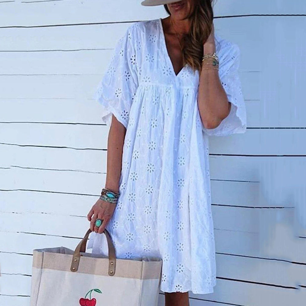Plus Size Casual Lace Mid Dresses