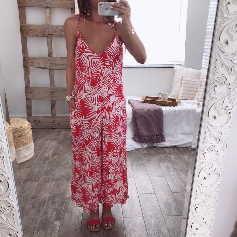 Hot Spaghetti Straps Print Casual Jumpsuits