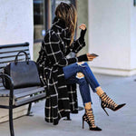 Autumn Winter Trench Jacket Women Casual Black White Plaid Coat