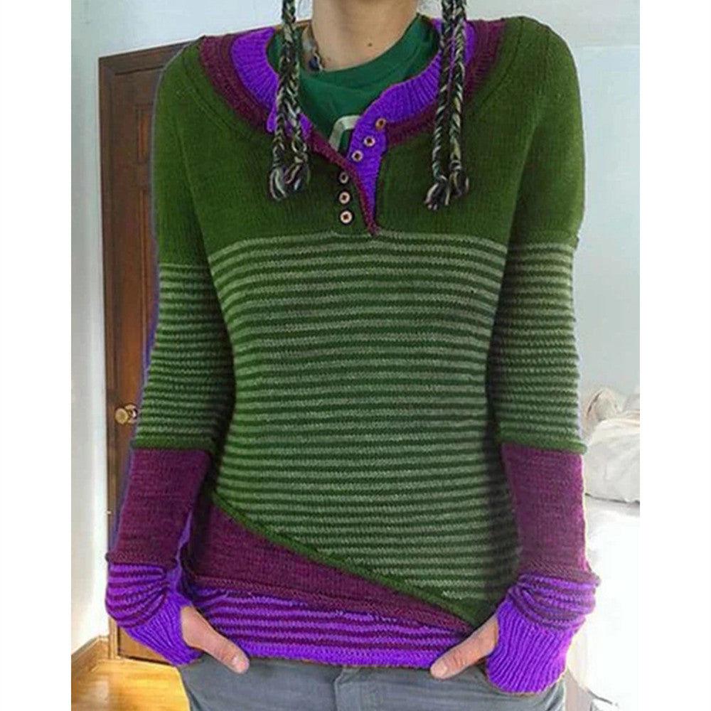 Winter New Casual Solid Color Printing Sweater Women Striped Stitching Long Sleeve Sweater Female Slim Tops