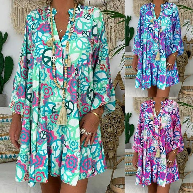 Casual Floral Print Plus Size Mini Dresses