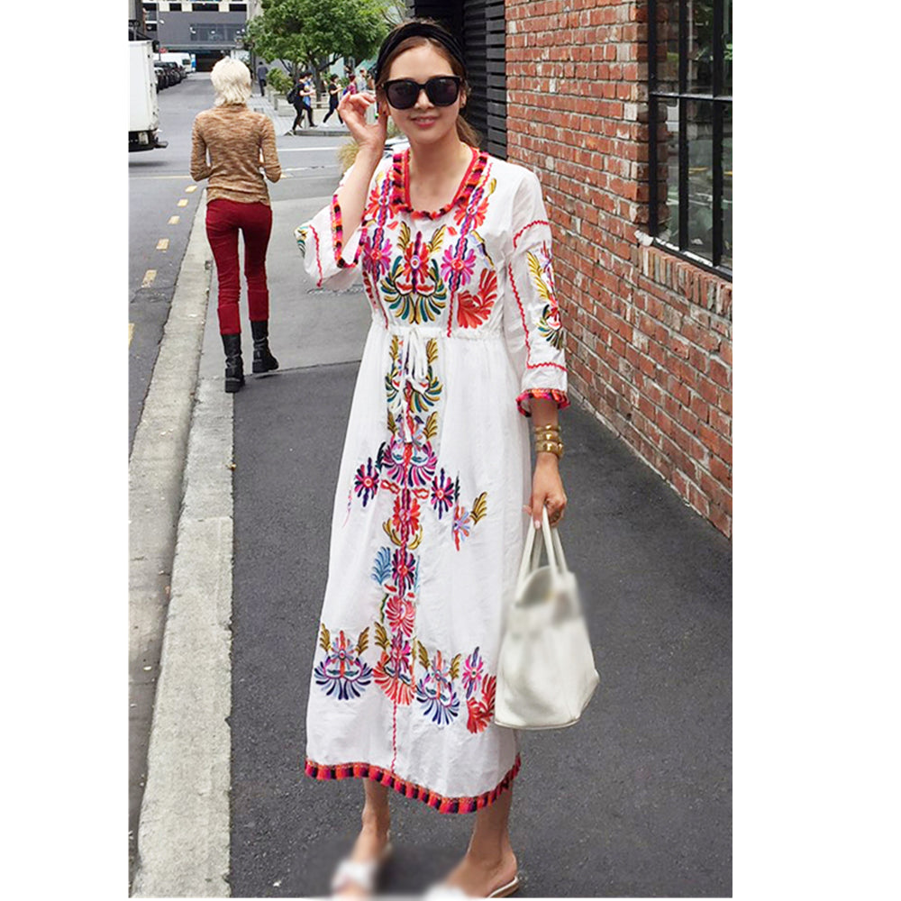 Loose Bohemia Embroidery Dresses 2019 New Vintage Women Floral Embroidered Cotton linen Dress