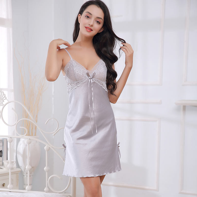 Women Deep V-Neck Backless Nightgown Floral Lace Hollow Out Bow Sleepwear Dress