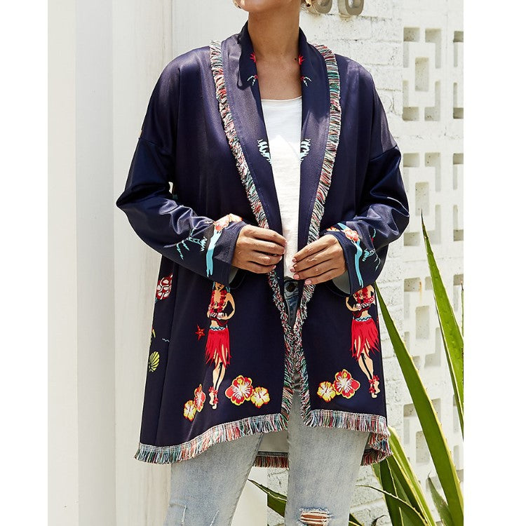 2019 Autumn And Winter New Long Coat Women's Printed Jacket Plus Size Coat