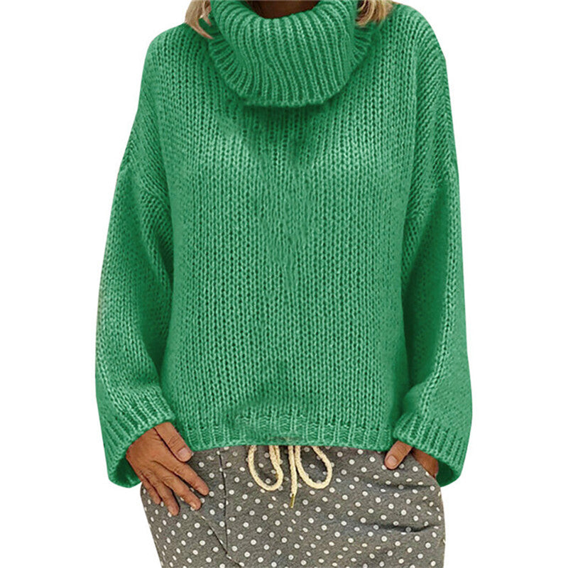 Women Solid Turtleneck Knitted Sweater 2019 Autumn Winter Fashion Female Pullover Sweaters Ladies Loose Knitwear Plus Size