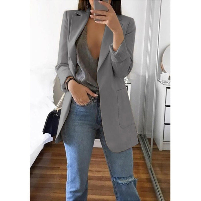 2019 Autumn Women Blazer Fashion Solid Turn-down Collar Ladies Business Blazer Suit Casual Long Sleeve Cardigan Jacket Plus Size