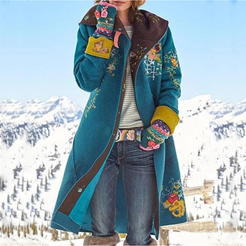 Fall Winter Retro Long Sleeve Oversize Woolen Coat Warm Loose Floral Print Jacket Vintage Patchwork Jacket Coat