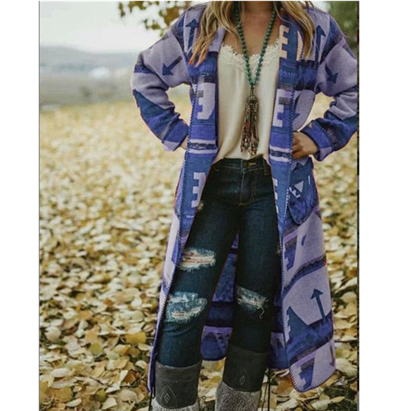 Trench Coat Casual Women's Long Coat Vintage Print Pattern Cardigan Long Sleeve Oversize Outwear