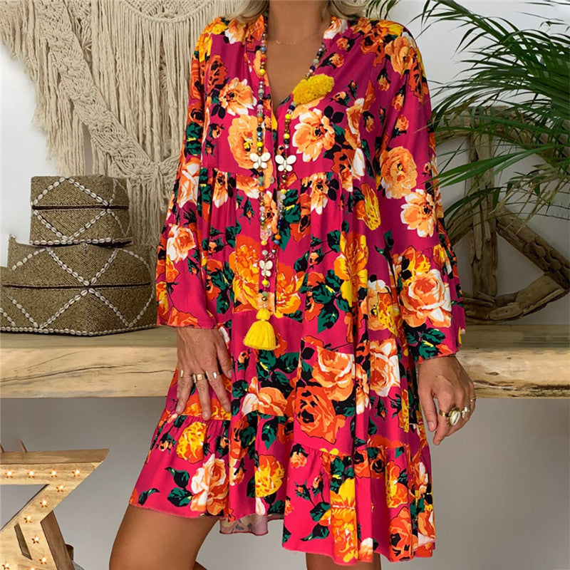 Plus Size Women Boho Floral Long Sleeve Dress Holiday Beach Shirt Dress Ladies Print Mini Dress