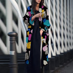 Women Autumn Winter Print Slim Embroidery Plus Size Cardigan Long Coat Vintage Blends Outerwear