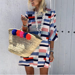 Summer Women Casual O Neck Half Sleeve  Print Loose Mini Dress