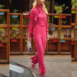 Elegant Wide Leg Jumpsuits Women Solid Color Rompers  Office Wear Playsuits