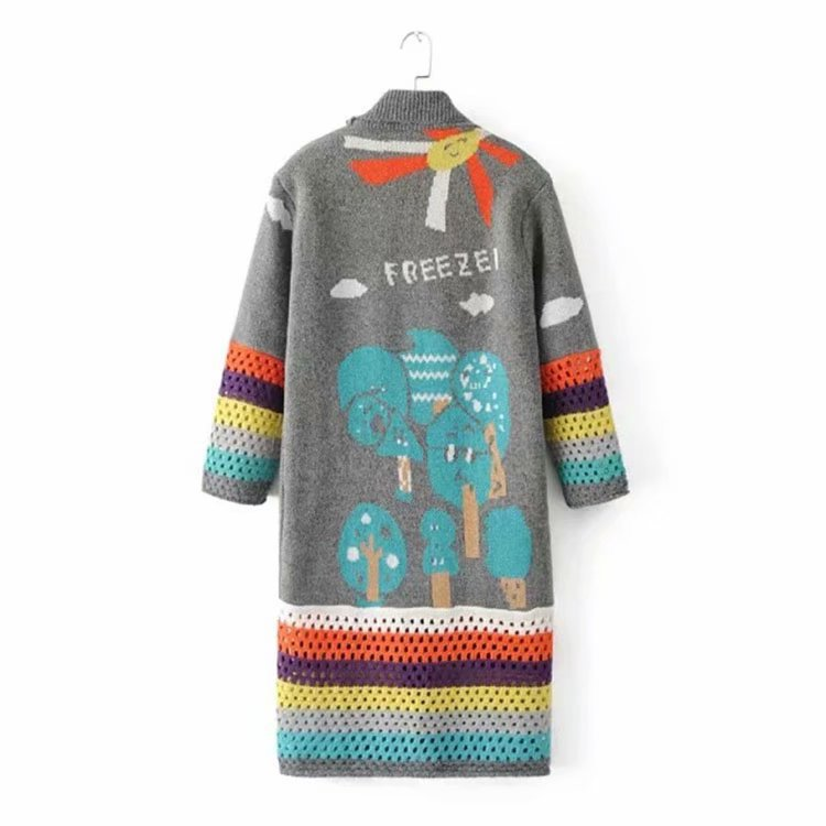 Autumn Winter Women Print Long Cardigans Knitted Coat Women Cute Crochet Long Poncho Sweaters