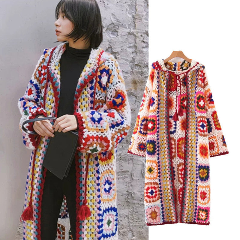 Vintage Mohair Long Cardigan Women Sweaters Female Long Sleeve Pocket Winter Cardigans Casual Knitwear