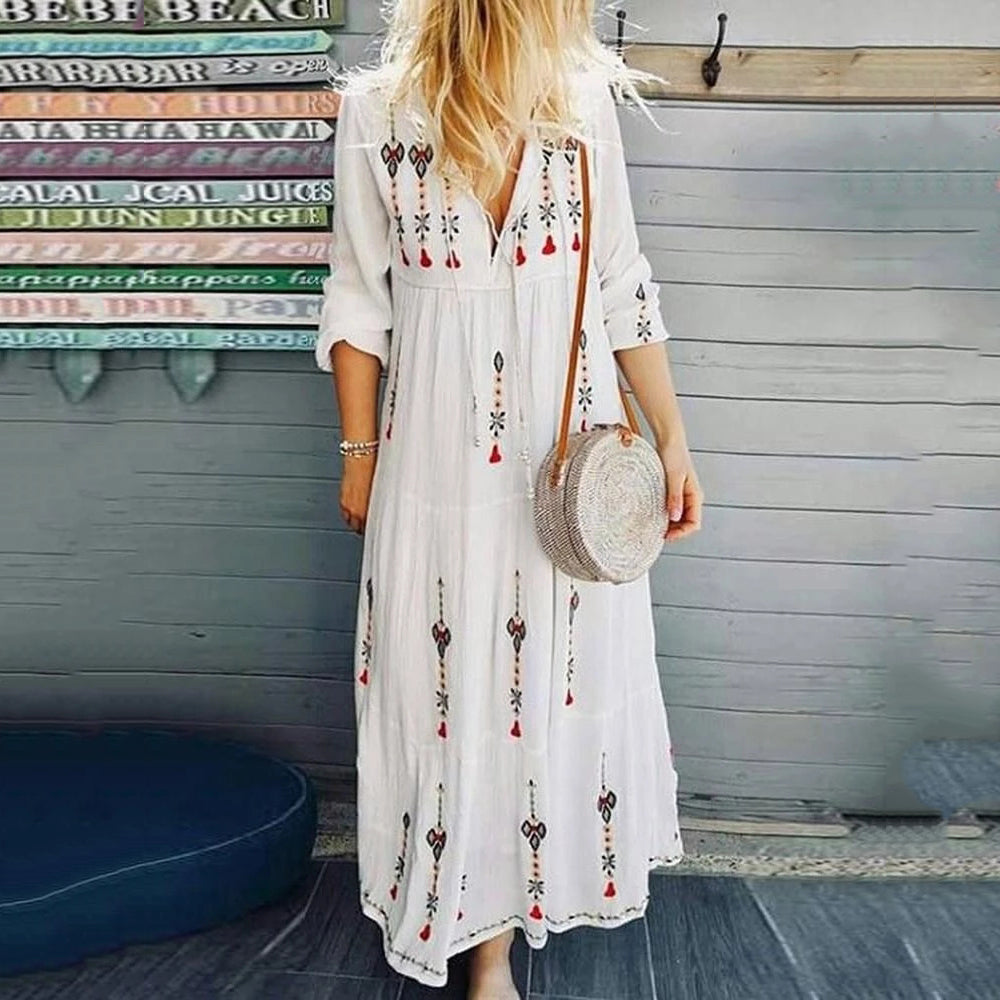 V-Neck Long Sleeve Ankle Length Summer Dress