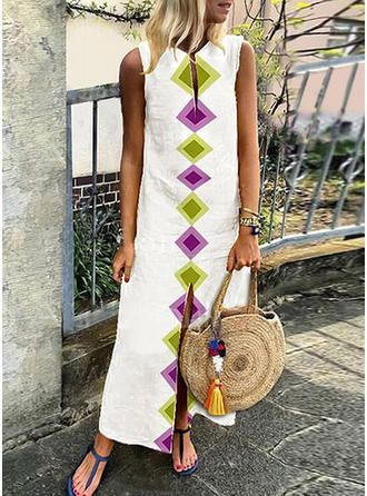 Sleeveless Split Print Maxi Dresses