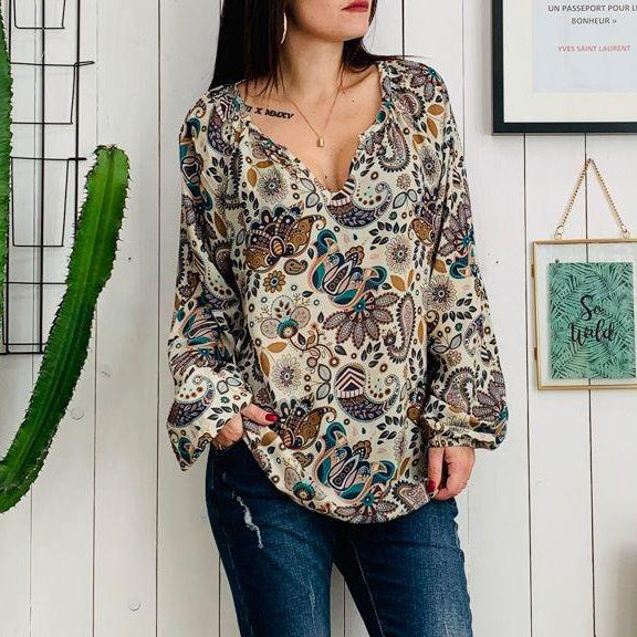 Bohemian Long Sleeve V-Neck Tops