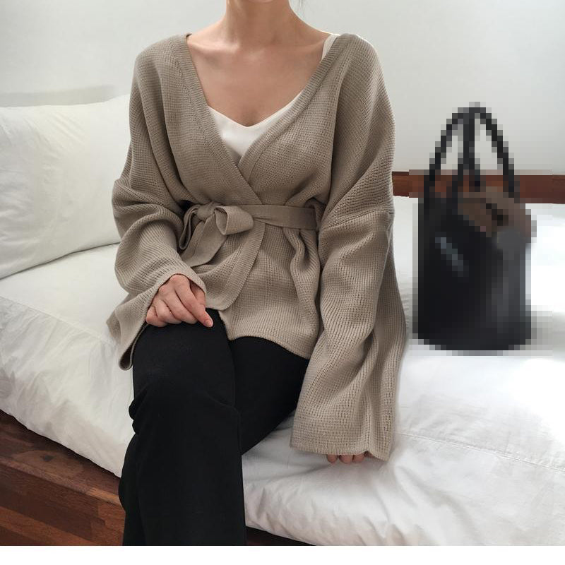 Vintage Loose Knitted Cardigans Sweater V-neck Bandage Female Open Stitch Sweater