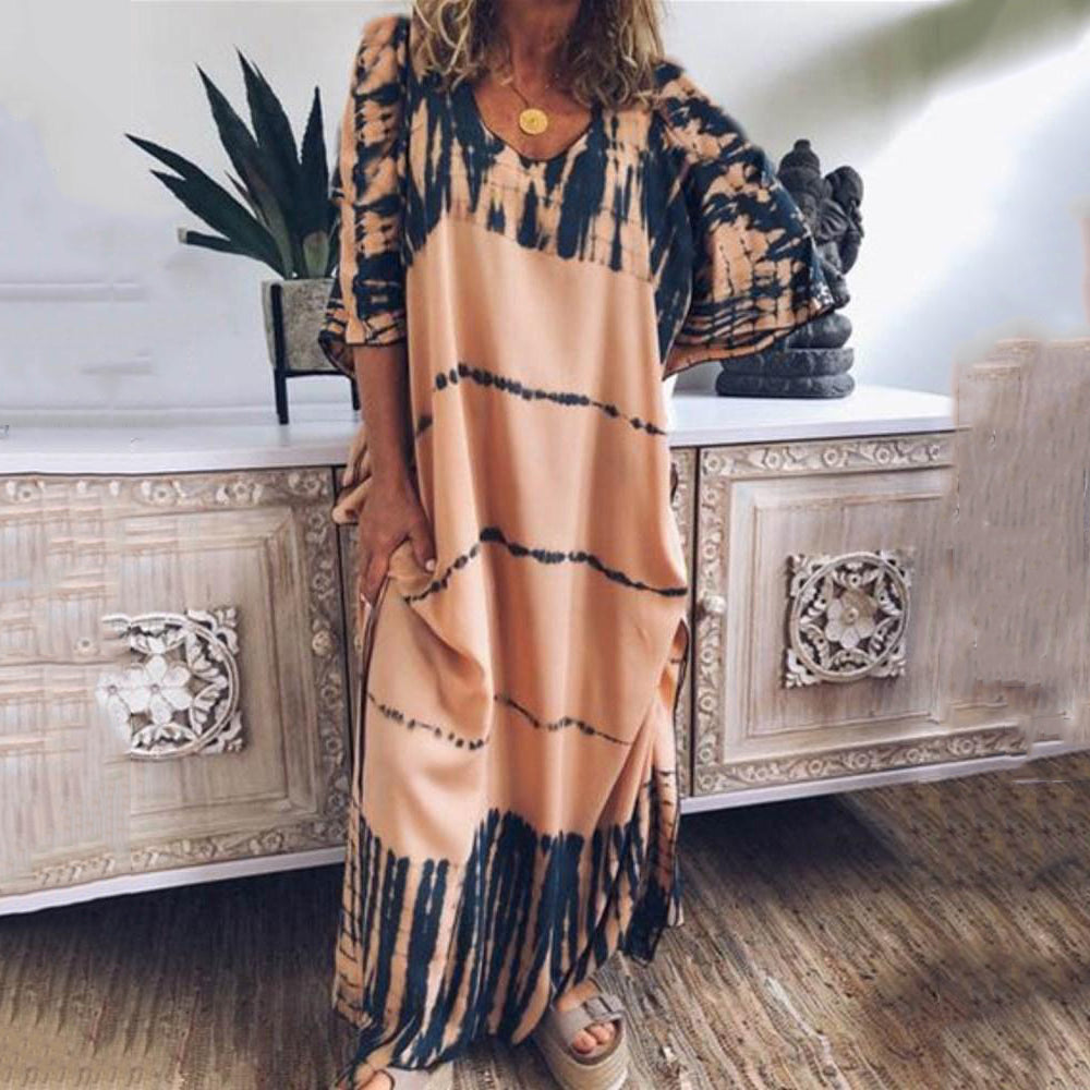 Summer Casual Plus Size Print Maxi Dresses