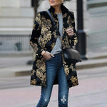 Women Retro Black Floral Print Coat Cardigan Long Sleeves Vintage Jacket Slim Elegant Coat Outwear