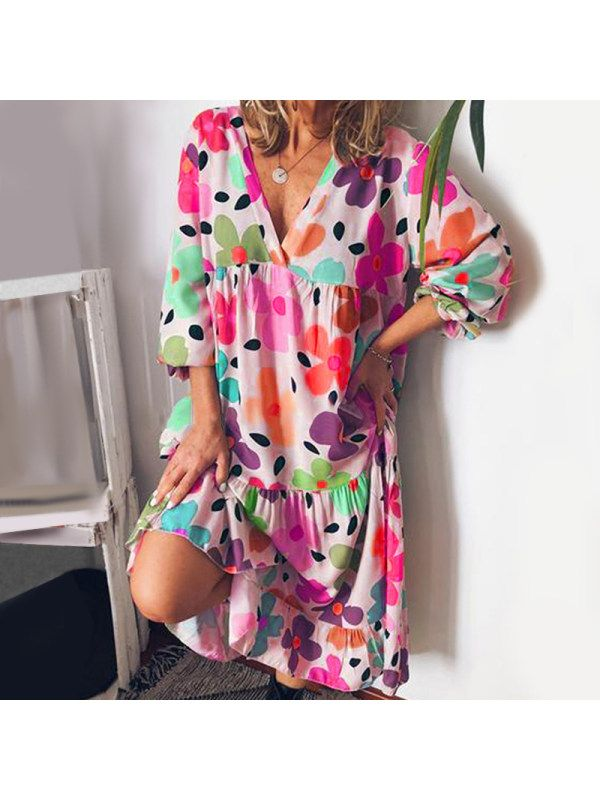 Casula Vacation Floral Print V-Neck Dresses