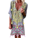 Bohemian V Neck Print Short Sleeve Mini Dress
