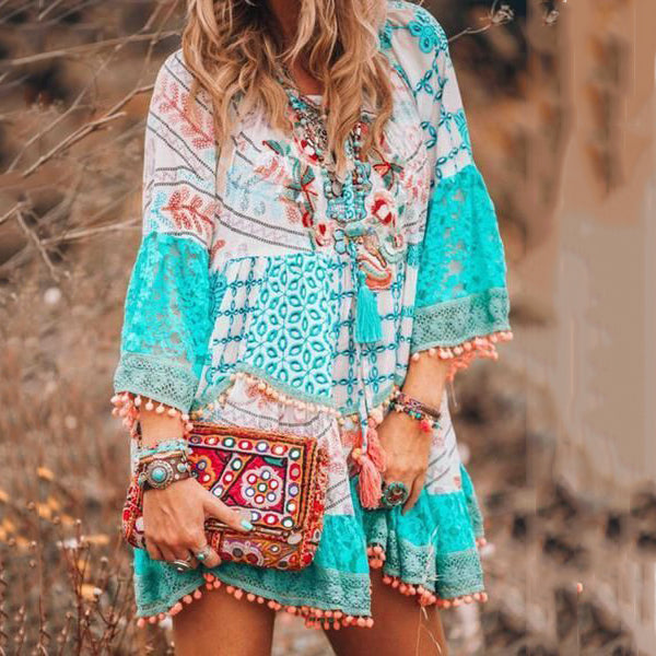 Print Bohemian Tassel Long Sleeve Mini Dress